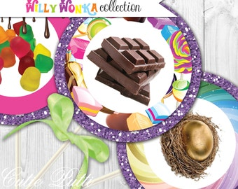 """Willy Wonka Party Printable 4"""" Themed Party Circles by Cutie Putti Paperie"""
