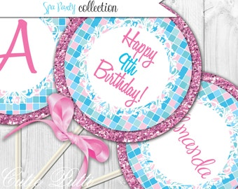 """Spa Party Printable 4"""" Custom Party Circles by Cutie Putti Paperie"""