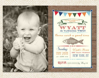 Fishing Birthday Invitation - DIY printable - boy, girl
