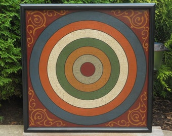 Primitive Wood Penny Pitch Game Board Folk Art Gameboard