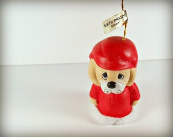 Vintage Porcelain Dog Bell Christmas Ornament