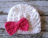 Ashlee Beanie in Hot Pink and White Available in Newborn to Tween Size- MADE TO ORDER