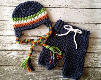 Stripe Beanie in Denim Blue, White, Orange and Green with Matching Crochet Baby Pants Available in Newborn to 6 Month Size- MADE TO ORDER