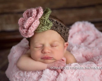 The Ava Flower Headband in Light Pink, Barley and Olive Green Available in Newborn to 4T Free Shipping in the U.S.- MADE TO ORDER