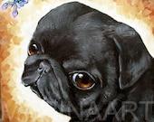 "PRINT 8"" X 10 "" dog cute PUG LINA  Collectible high quality paper"