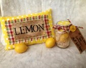 Primitive Nook Decorative Lemon Mason Ball Jar & Pillow Set  OFG Team