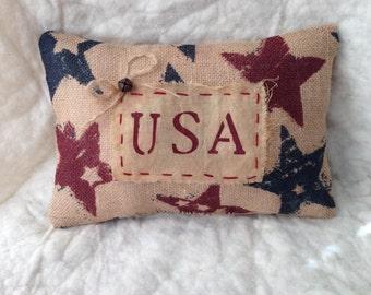 Primitive Nook Ooak Burlap Americana  Pillow OFG Team FAAP Team