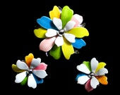 "Vintage Sarah Coventry ""Pastels"" Enamel Flower Pin and Earrings, Minty, Wedding Flower, Bouquet Pastel Colors 0055"