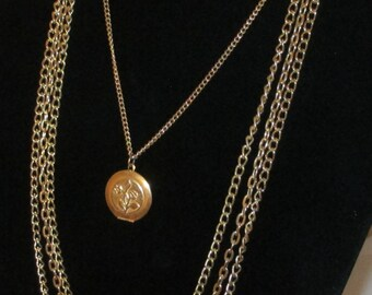 Vintage Locket  with LONG Multi-Strand Gold Plated Chain Necklace
