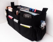 Extra large size Purse organizer  with laptop padded case - Bag organizer insert in Black fabric