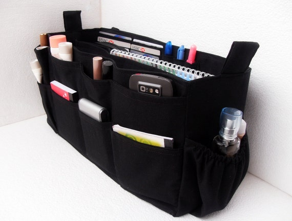 ... with laptop padded case - Bag organizer insert in Black fabric
