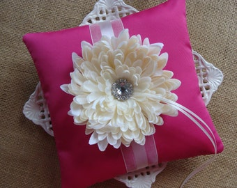 Wedding Ring Bearer Pillow - Ivory Spider Mum on Fuscia Tafetta