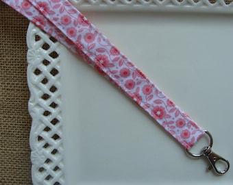 Fabric Lanyard ID - Pink Sherbert Flowers on White - 1