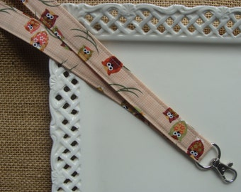 Fabric Lanyard  -  Wise Owls on Branches