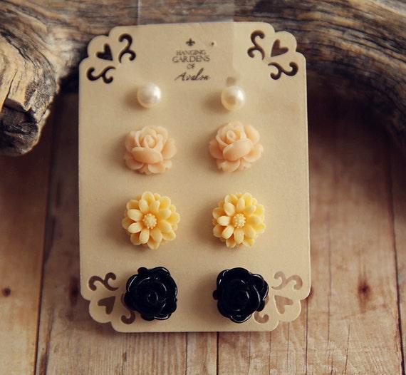 Stud Earrings Gift Set of 4 -  fresh water pearl,  pink rose,  light yellow daisy,  black rose G01