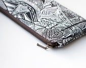 Tribal Pattern Printed  Leather Pouch No. ZPL-2002