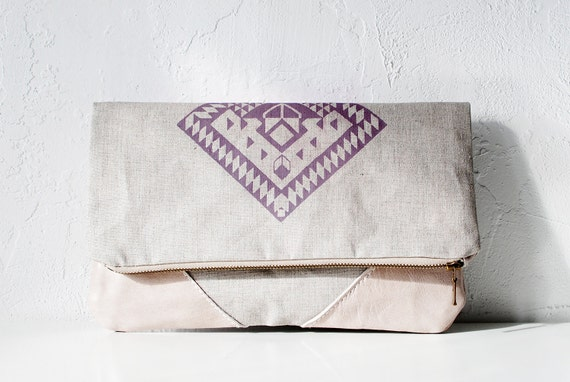 LAST ONE Geometrical Illusion Printed  Leather Pouch  lavender iPad case No. ZPB-102