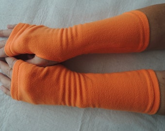 Fleece Arm Warmers, Fleece Fingerless Glove, Orange Texting Glove, Cycling Glove, Fleece Driving Glove, Fleece Hand Warmers, Orange Gloves
