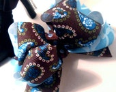 Girls Boutique Layered Hair Bow - Teal Paisley - Brown, Blue, White, Paisley