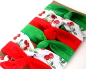 Hair Ties - Bloom & Bling Bands - Sweet Cherries (Set of 6) Hair Ties - Red, Green, White Ponytail, Pigtails