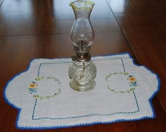 Handmade Linen and Crewel Doily-Table Topper