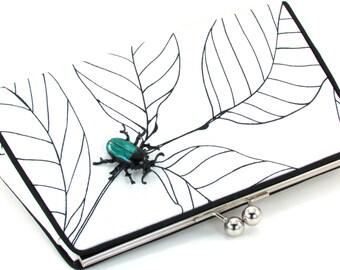 Black and White Clutch Purse - Teal Beetle White Unique Evening Bag - Modern Metal Frame Handbag - Bagboy