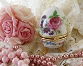 SHABBY CHIC BEAUTIFUL Footed Egg Trinket Box  French  Pink Roses Romantic Home Decor Marie Antoinette Ooh La La