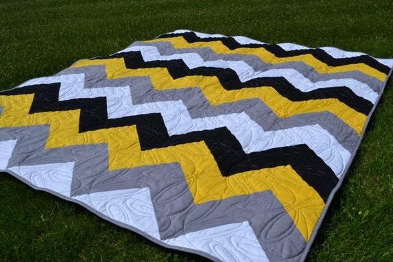 Modern Quilt Chevron Yellow Gray Black Geometric Twin Quilt