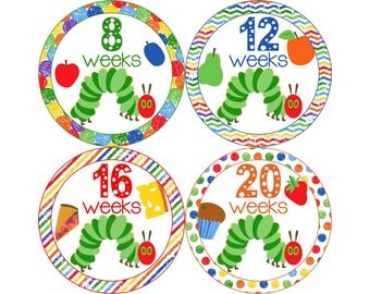 Pregnancy Stickers, Pregnancy Announcement, Weekly Stickers, Belly Stickers, Pregnancy Photo Prop, Belly Bump Stickers, Caterpillar (N003-P)