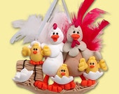 Half Baked Hens Family of 5 HANDMADE POLYMER CLAY Personalized Christmas Ornament