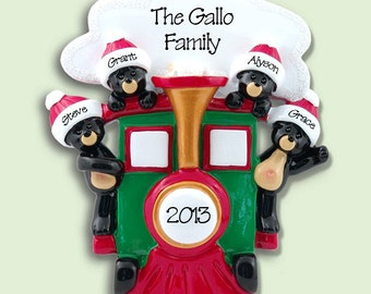 BLACK BEARS in Train Personalized Family Ornament of 4 Hand Painted RESIN