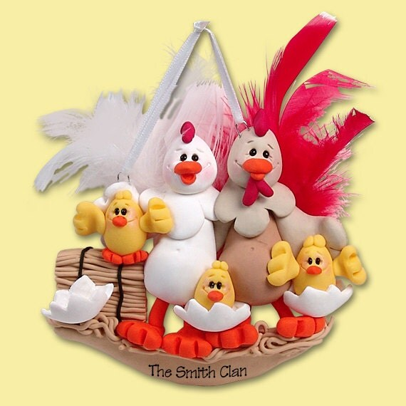 Half Baked Hens Family Of 5 HANDMADE POLYMER CLAY Personalized