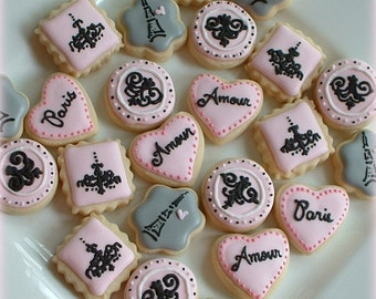 Paris cookies - MINI or SMALL Paris cookies - decorated cookies