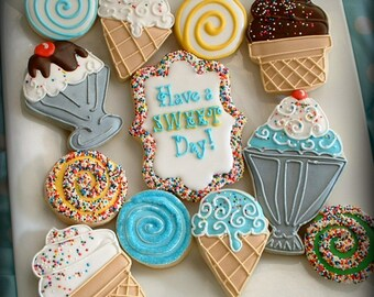 Ice cream cookies - 1 dozen ice cream birthday cookies - cookie gift