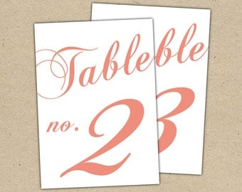 Table Numbers Instant Download - Classic Table Numbers in CORAL (4x6) - modern design DIY. Wedding reception (1-10)