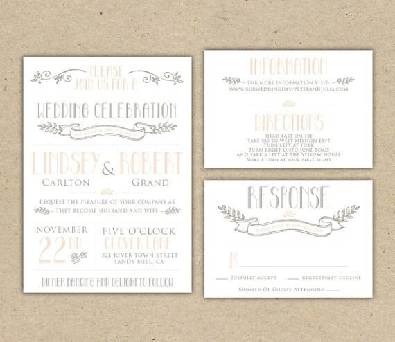 Vintage Handmade Wedding Invitations: Items Similar To Vintage Modern Wedding Invitation Prints