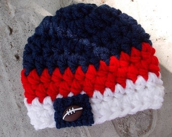 Houston Texans or New England Patriots inspired baby hat - sports props - team sports -  made to order