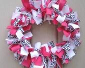 Valentines Day Rag Wreath, Pink Black and White Front Door Wreath, Valentine Wreaths, Fabric Wreath, Girls Room Baby Bridal Shower Decor