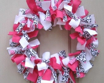 Rag Wreath, Pink Door Wreath, Fabric Wreath, Girls Room Decor, Black White Wreath, Cloth Wreath, Baby Bridal Shower Decor, Valentines Wreath