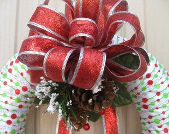 Christmas Wreaths, Christmas Ribbon Wreath, Holiday Party Decor, Green Red Winter Wreath, Whimsical Christmas Wreath, Mod Holiday Wreaths