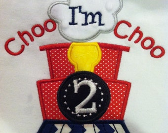 Choo Choo I'm 2 Train Birthday T Shirt Applique and Embroidery, personalized, short sleeved, custom boutique clothing