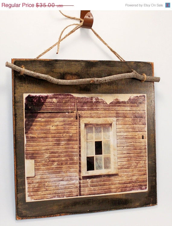 50% OFF CIJ SALE Wood Plaque with Altered Photograph, Rustic Barn Window