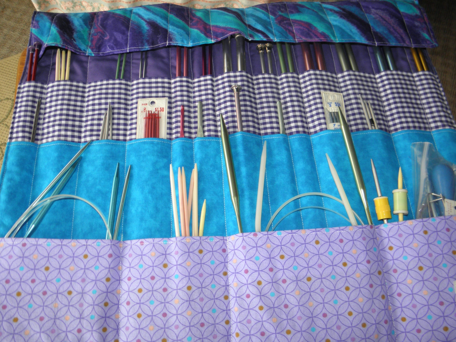 Knitting Needle Storage Case Pattern : Pdf sewing pattern knitting crochet needle organizer