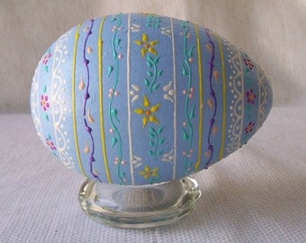 Pastel blue paper mache egg with raised dots and lines all over floral pattern-175.