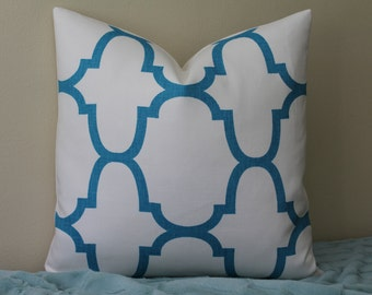 """SET Of TWO - 20"""" x 20"""" Windsor Smith for Kravet - Riad Moroccan Tile in Akuatik - Decorative Designer Pillow Cover"""