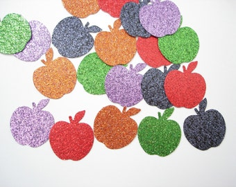 50 Glittered  Halloween Apple paper punch die cut confetti scrapbook embellishments - No321