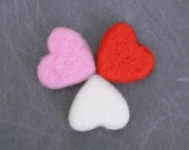 Love Tokens - 12 Large Felted Hearts valentines sweetheart red white pink