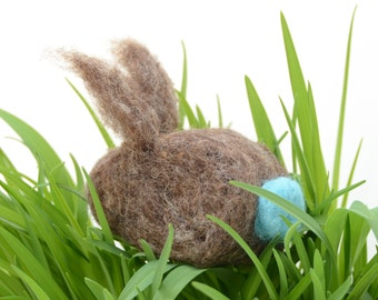 Needle Felted Rabbit brown aqua natural easter spring decor eco friendly