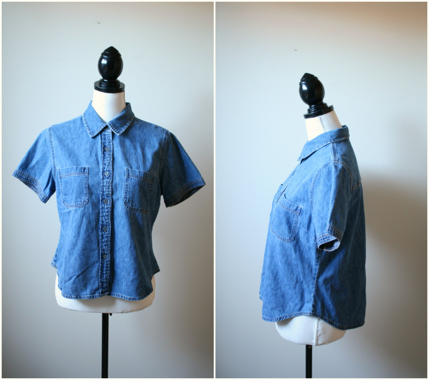 1990s Denim Button Down - Womens Vintage Pointed Collar cropped jean top - US M L