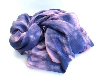 SALE   ...   large hand dyed silk scarf  ...  deep purple ...   periwinkle  ...    mauve